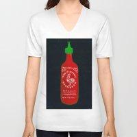 sriracha V-neck T-shirts featuring Sriracha (2012) by Branden Vondrak