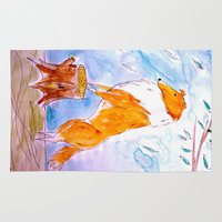 border collie Area & Throw Rugs featuring Collie by Caballos of Colour