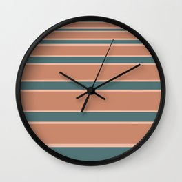 Gradient Stripes Minimalist Pattern in Light Clay and Teal Green Wall Clock
