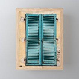 Turquoise Window shutters - Italy Elba-Island Framed Mini Art Print