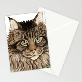 Maine Coon Cat-  Cats By Nina Lyman Stationery Cards
