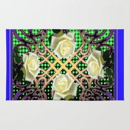 BLUE-GREEN WHITE ROSE GARDEN  TAPESTRY ART Rug