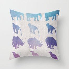 Retro Animals Throw Pillow