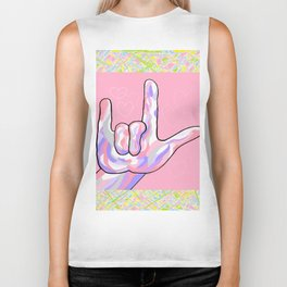 ASL I Love You in PINK Biker Tank