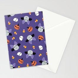 Purple Kawaii Halloween Bat Pattern Stationery Cards