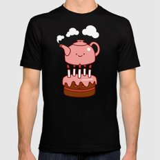 tea with cake MEDIUM Mens Fitted Tee Black