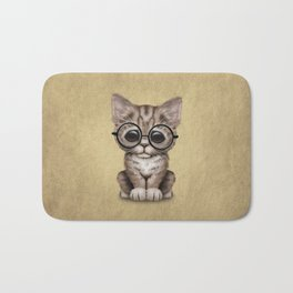 Cute Brown Tabby Kitten Wearing Eye Glasses Bath Mat