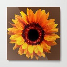 Decorative Coffee Brown Golden Sunflower Art Metal Print