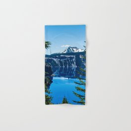 Crater Lake // Incredible National Park Views of the Dark Blue Waters Sky and Mountains through the Hand & Bath Towel