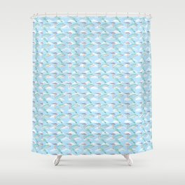 Rainbow Hummingbirds Hovering in a Cloudy Sky Shower Curtain