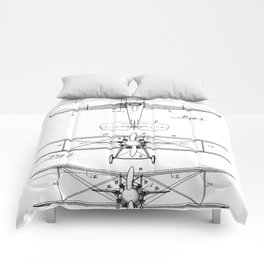 Biplane Patent - Aviation Art - Black And White Comforters