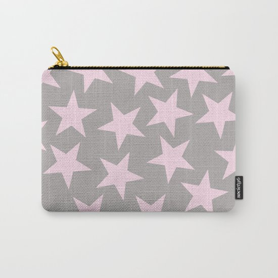Pink stars on grey background on #Society6 Carry-All Pouch