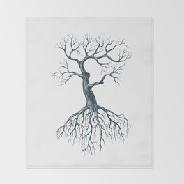 Tree without leaves Throw Blanket