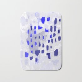 Symba - abstract painting dorm college decor art dots indigo blue grey modern canvas art Bath Mat
