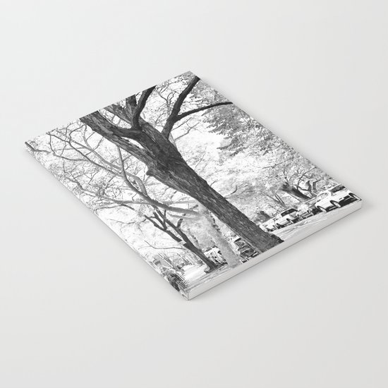 Cobble Hill Brooklyn Winter Black and White Brownstone Notebook