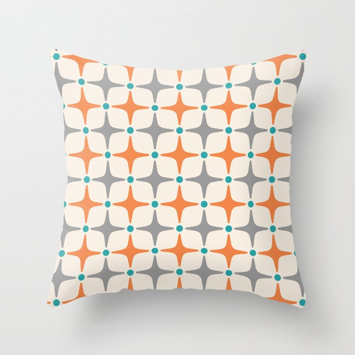 Mid Century Modern Star Pattern Grey and Orange Throw Pillow