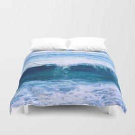 Blue Ocean Wave Crashing to the Beach Duvet Cover