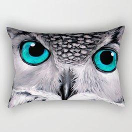 Aqua Owl Eyes Rectangular Pillow