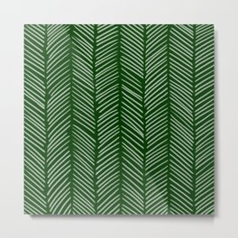 Forest Green Herringbone Metal Print