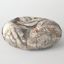 Buddha with flowers Floor Pillow