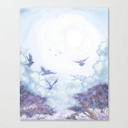Moonlit Crows Canvas Print
