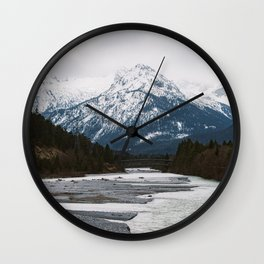 Mountains - Alps - River - Alpine - Trees - Mountain Range. Little sweet moments. Wall Clock