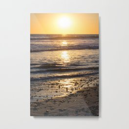 Glittery Sunset Waves Metal Print