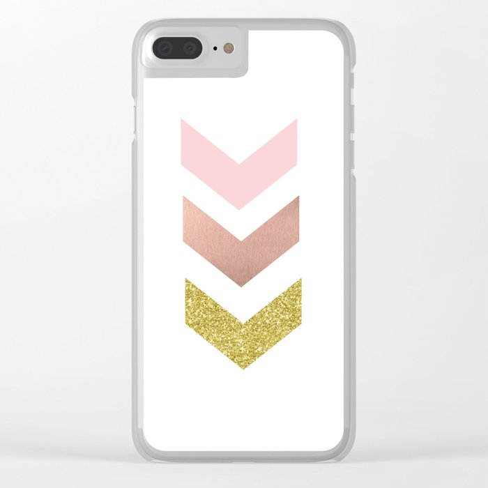 Rose gold chevron Clear iPhone Case