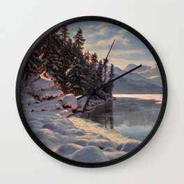 Winter Sunrise Lakeside in the Mountains by Ivan Fedorovich Choultsé Wall Clock