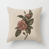 roses Throw Pillows featuring Roses by Jessica Roux