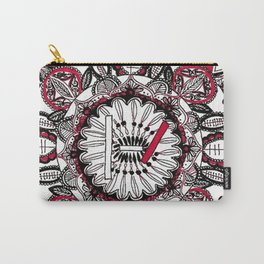 TOP Red and Black Zoomed in Mandala Carry-All Pouch