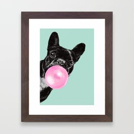 Bubble Gum Sneaky French Bulldog in Green Framed Art Print