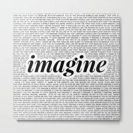 imagine - Ariana - imagination - lyrics - white black Metal Print