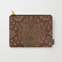 Boho Funky II // 16th Century Distressed Red Green Blue Flowery Colorful Ornate Rug Pattern Carry-All Pouch