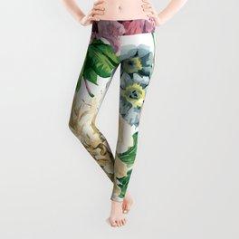 Beautiful BLUE, PINK AND ORANGE - Butterfly - Jersey Beauty Flower Leggings