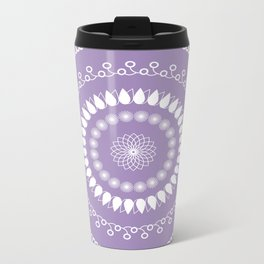 Round lilac pattern Metal Travel Mug