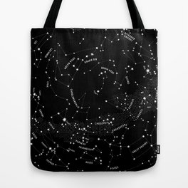 Constellation Map - Black Tote Bag