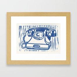 Rotary Phone Lino Framed Art Print