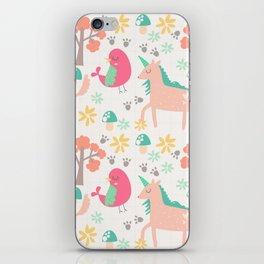 Cute cartoon unicorns & birds pattern iPhone Skin