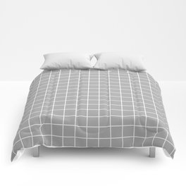 Silver chalice - grey color -  White Lines Grid Pattern Comforters