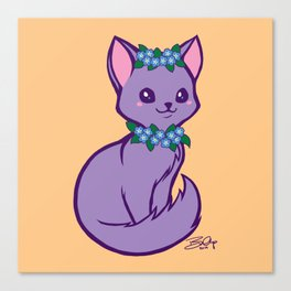 Pritty Kitty Has Forget Me Nots Canvas Print