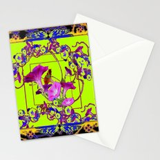 Decorative  Blue Purple Vining Flowers  Lime Green Patterns  Art Stationery Cards