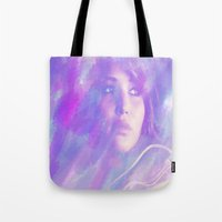 jennifer lawrence Tote Bags featuring Jennifer Lawrence by Maria Renee