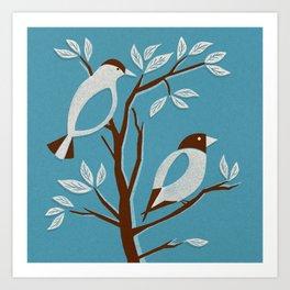 Blissful Blue Mid Century Birds On Branches Art Print
