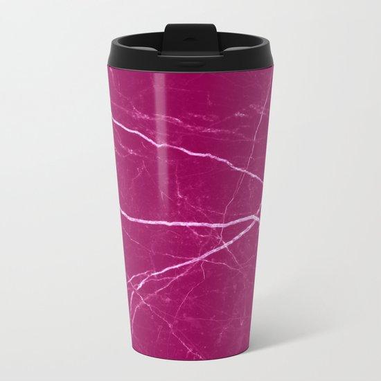 Magenta marble abstract texture pattern Metal Travel Mug