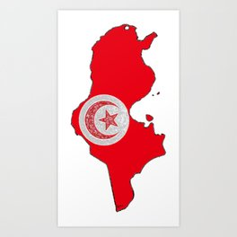 Tunisia Map with Tunisian Flag Art Print