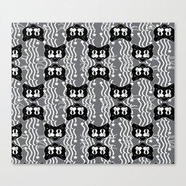 Black Cat Pattern On Gray Canvas Print