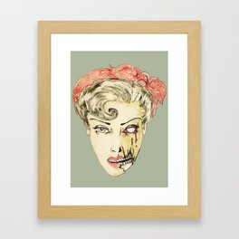 zombie pin-up retro housewife horror rockabilly scarf wearing strong woman Framed Art Print