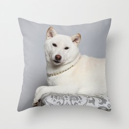 Cream Shiba Inu Dog Throw Pillow