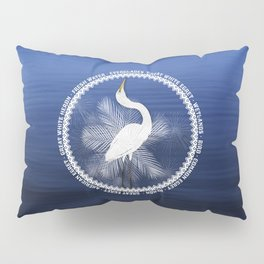Great Egret Wreath Pillow Sham